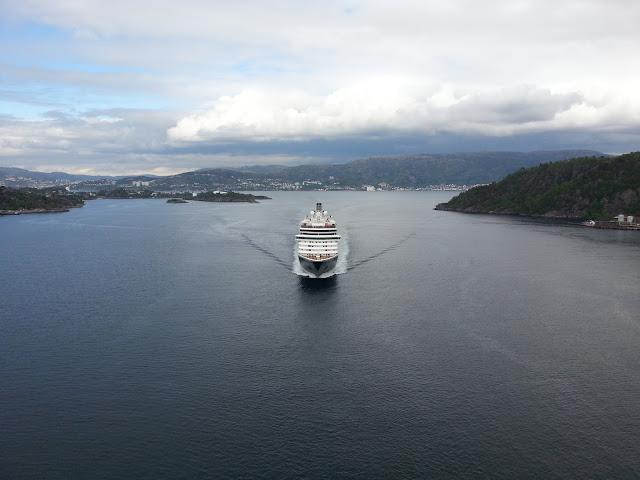 Holland America Line cruise ship Zuiderdam in Bergen, Norway; under the Askøy bridge