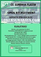 Open Recruitment at CV. Gunawan Plastik Surabaya Agustus 2020