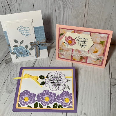 Three floral cards using the Floral Essence Stamp Set