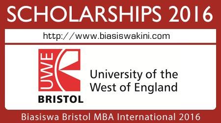 Biasiswa Bristol MBA International 2016