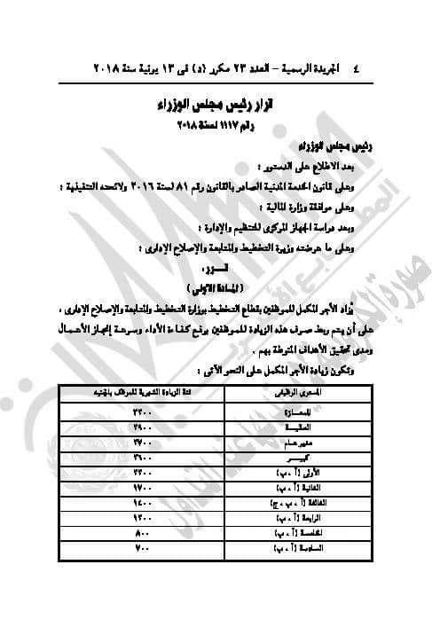 الحكومة المصرية بالجريدة الرسمية - زياده المرتبات لجميع الموظفين بالوزارات المصرية لتصل 3200 جنيه - يوليو 2018