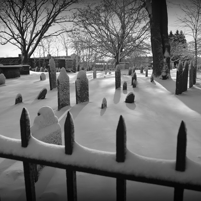 Olde Burying Point Cemetery, Salem, Massachusetts, old, gravestones, winter, snow, fence, trees