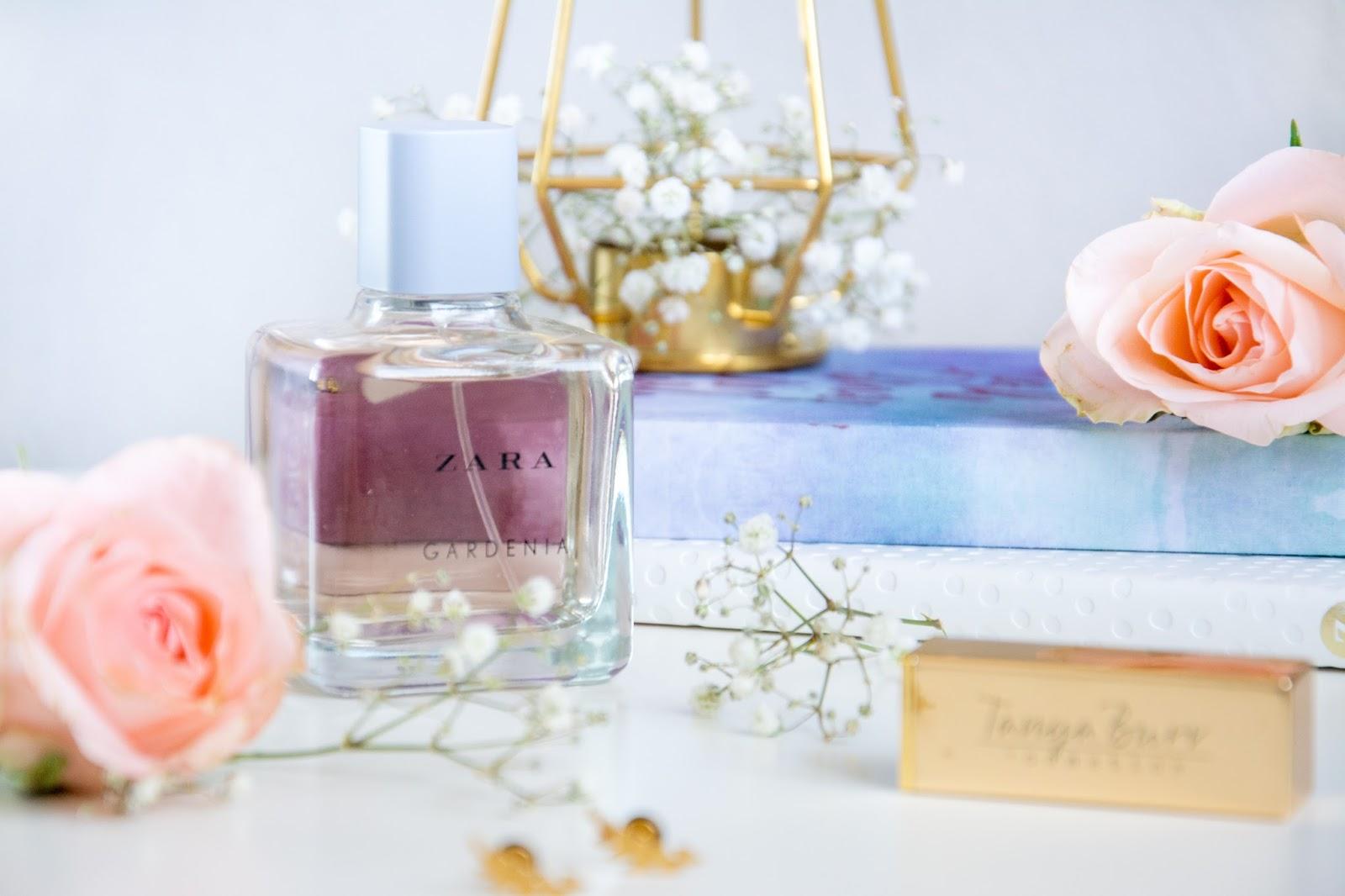 Zara Gardenia Perfume; Happiness Boutique Leafy Fern Earrings; Tanya Burr Lipstick Pink Cocoa; Ikea Geometric Candle Holder; Hema Patel Notebook; Zoella Notebook; Fresh Roses