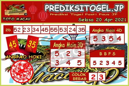 Prediksi Togel Toto Macau JP Selasa 20 April 2021