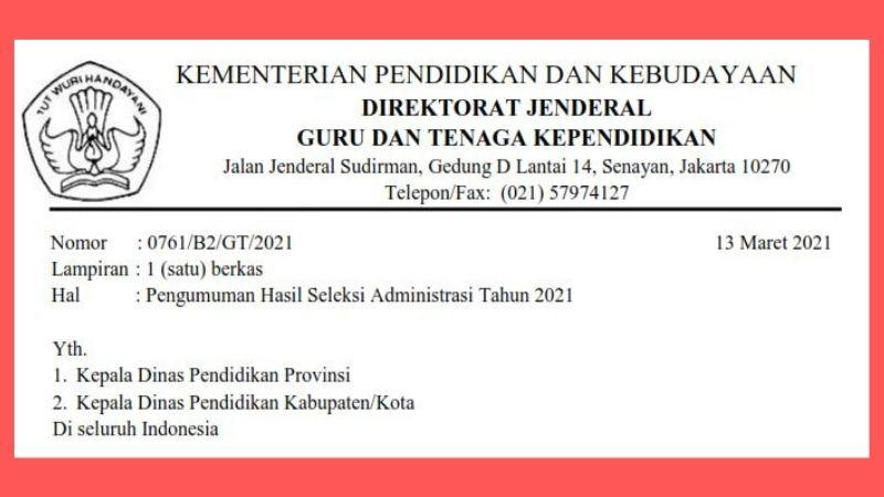 SE Pengumuman Hasil Seleksi Administrasi PPG Daljab 2021