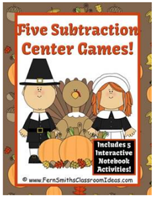 Fern Smith's Classroom Ideas Thanksgiving Subtraction Center Game and Interactive Notebook Activities
