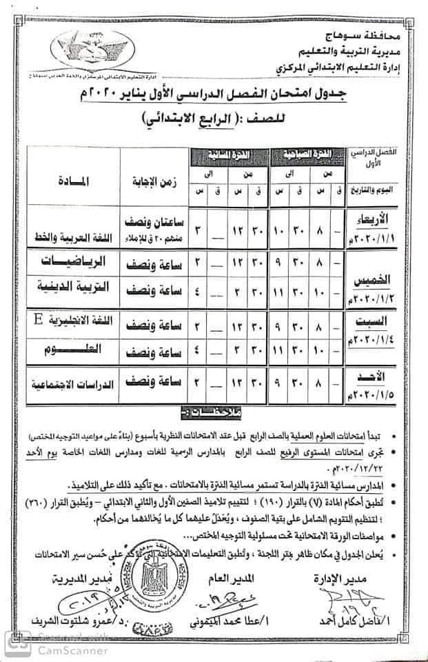 جدول امتحانات الصف الرابع الأبتدائي 2020 محافظة سوهاج