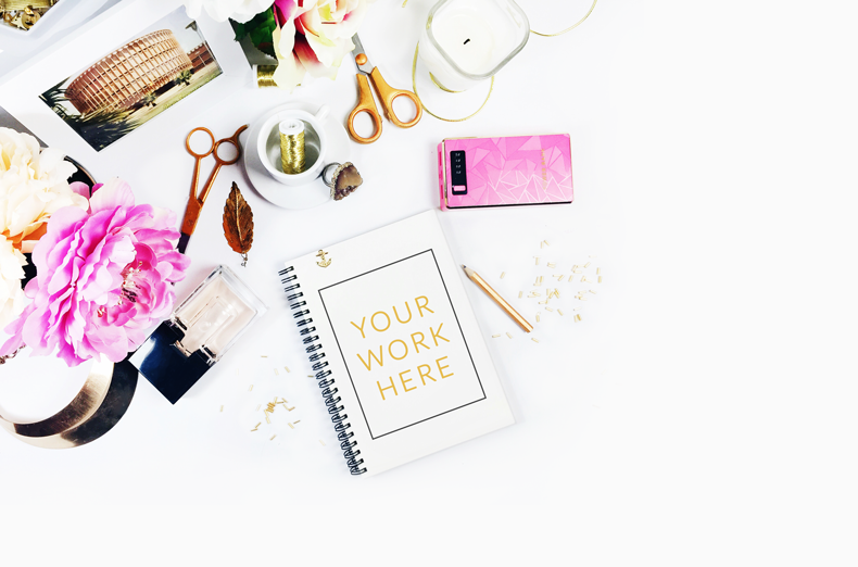 Free Styled Stock Photography Blush Pink and Gold desk peonies goldandberry blog gold and berry freebies