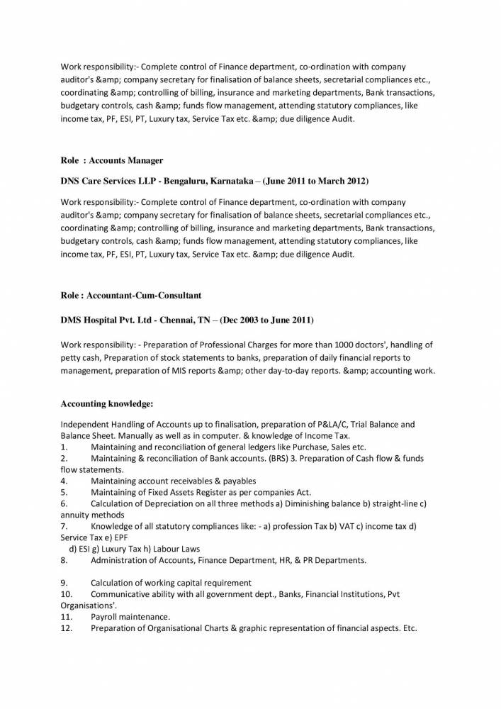 best resume format for accounts  u0026 finance manager