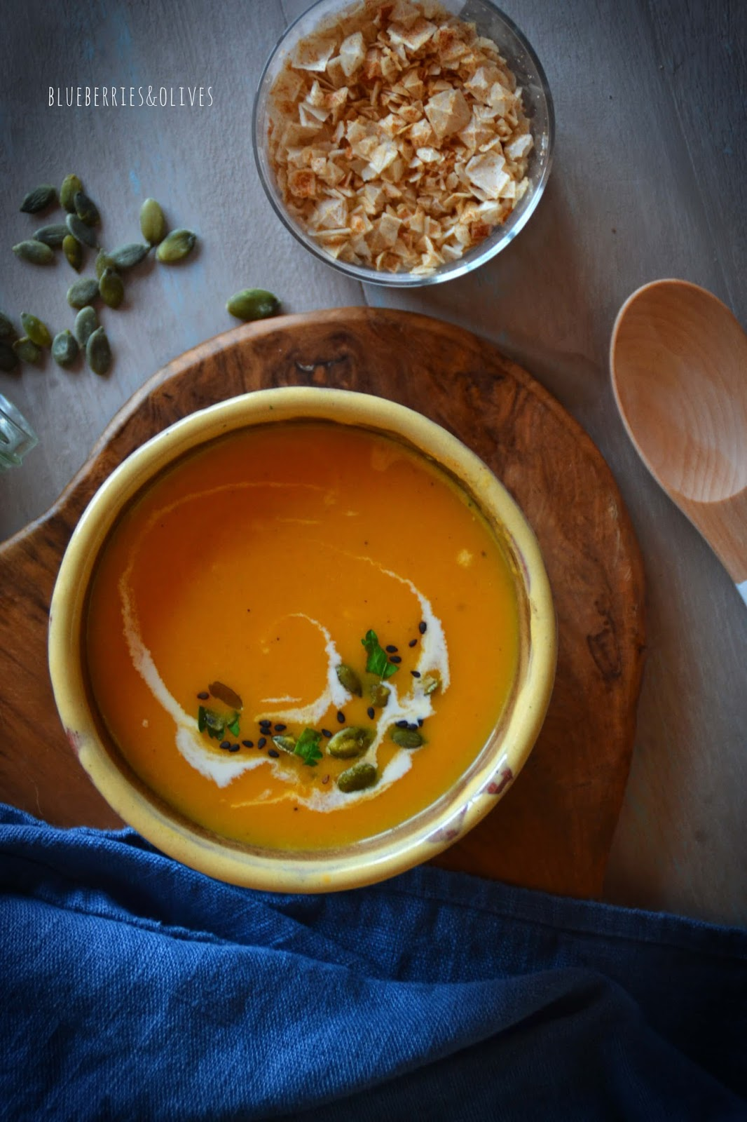 CARROT AND PUMPKIN SOUP WITH COCONUT CREAM