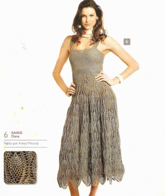 Patrón #1554: Vestido a Crochet