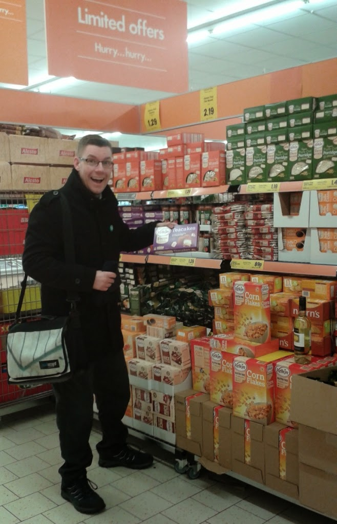 Richard Gottfried is a happy Coeliac shopping for gluten free food in Lidl