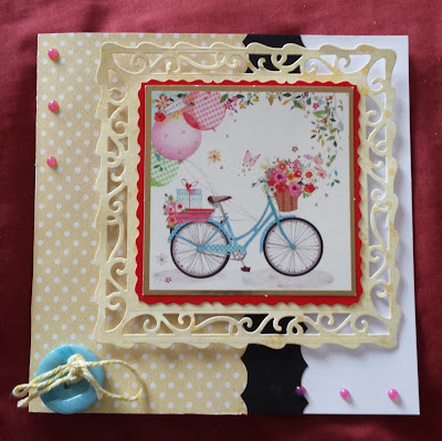 "Bicycle and Balloons 7"" white square card"