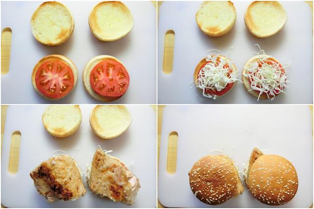 焼いたバンズにトマト、せんぎりキャベツ、鮭をのせ、最後にバンズをかぶせます。