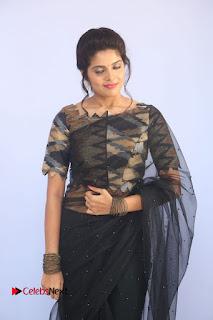 Actress Shravya Pictures in Black Saree at Nandini Nursing Home Audio Success Meet .COM 0004.JPG