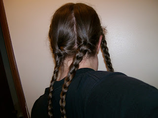 Two back braids for plaited chignon.
