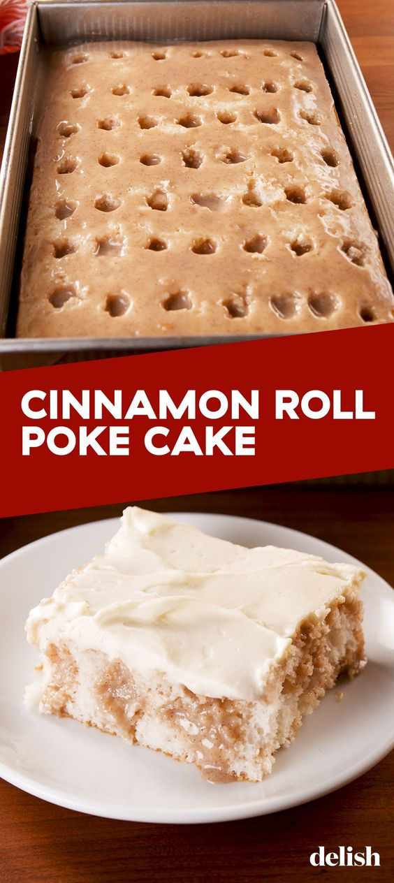 BEST CINNAMON ROLL POKE CAKE