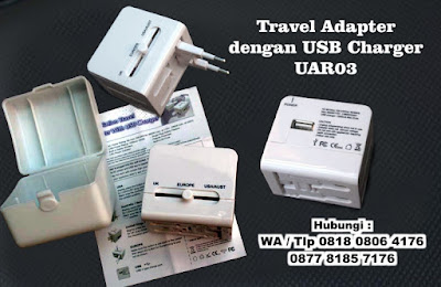 Universal Travel Adaptor Kotak with USB Charger UAR03, Universal Travel Adapter Promosi UAR03 Travel Adaptor UAR03, UNIVERSAL TRAVEL ADAPTER W/ USB MODULE, Konverter Travel murah, garansi, lengkap di Tangerang