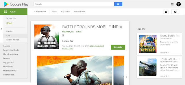 Battlegrounds Mobile India Play Store Listing