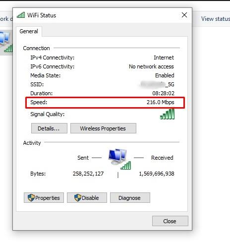 check internet speed in windows 10
