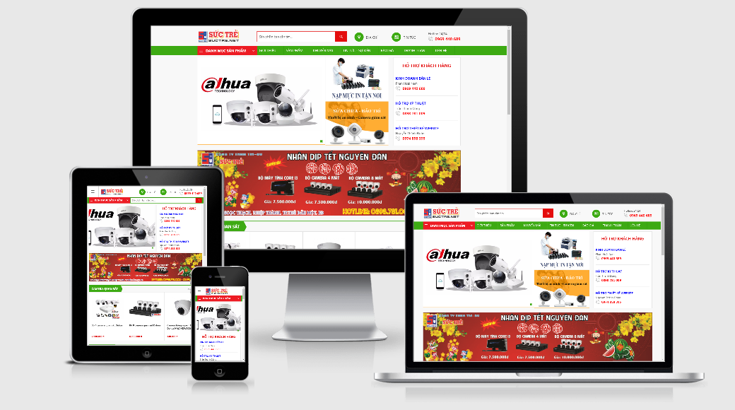 Mẫu website bán máy tính, camera quan sát