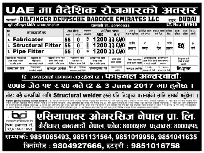 Jobs in Dubai for Nepali, Salary Rs 33,650