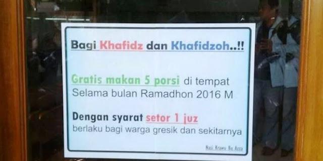 Warung Ini Gratiskan 5 Porsi Makan Jika Setor Hafalan Al Qur'an 1 Juz
