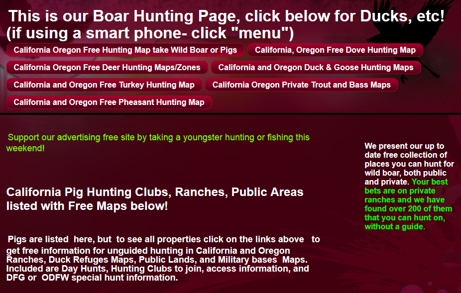 california hunting clubs and public areas oregon