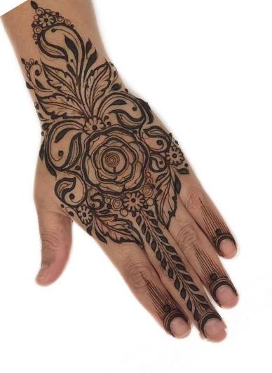 Single Rose Mehndi Design Back Hand