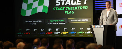 #NASCAR Executive Vice President and Chief Racing Development Officer Steve O'Donnell  speaks on stage about competition changes to the 2017 Monster Energy NASCAR Cup  Series at Charlotte Convention Center on January 23, 2017 in Charlotte, North Carolina.