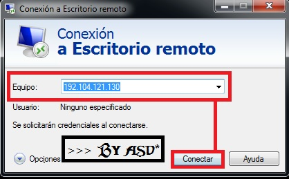 Ventana de configuracion de escritorio remoto