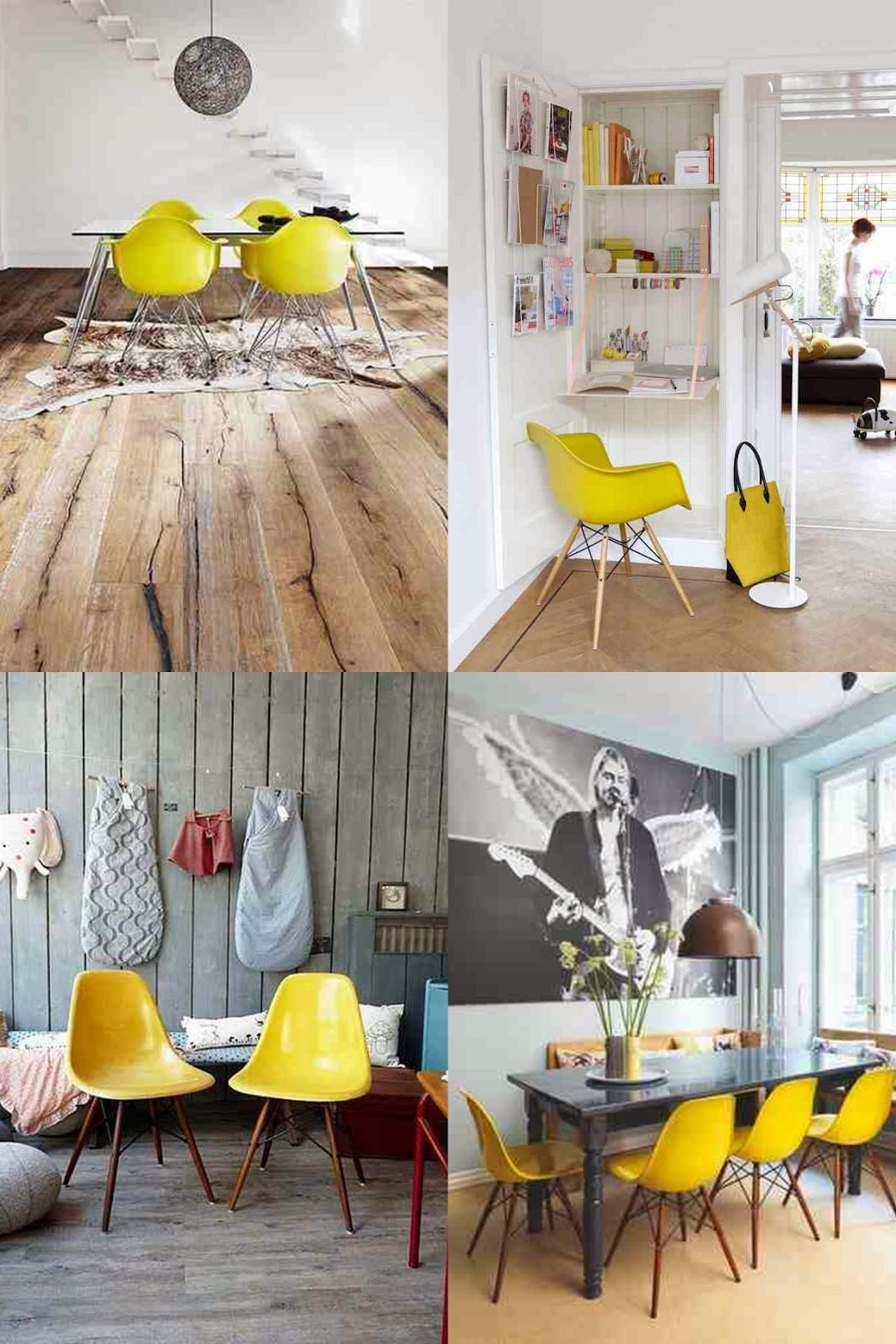 Eames chairs yellow chairs
