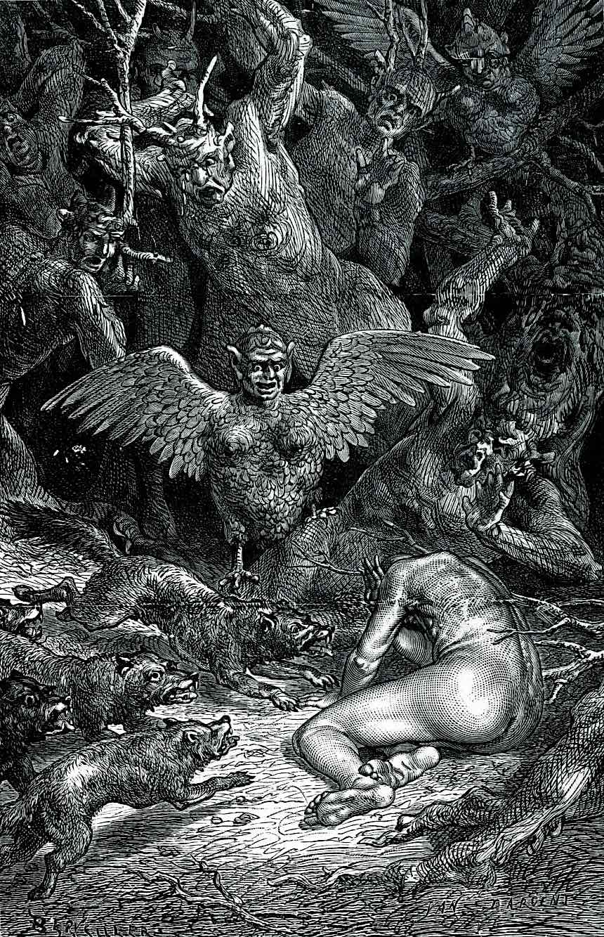 a Yan Dargent drawing of a man tormented by demons