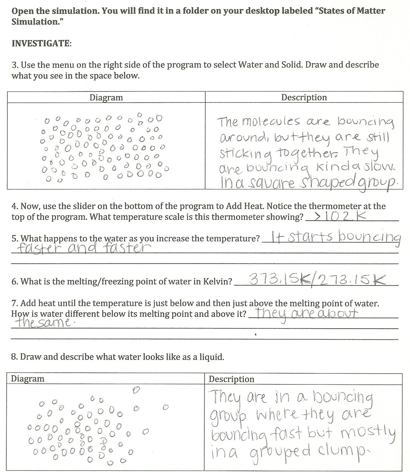 States Of Matter Worksheet Answer Key