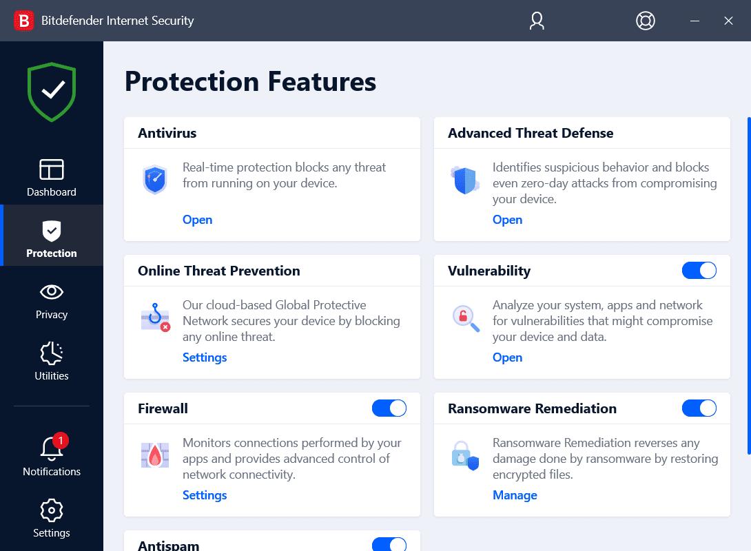 Bitdefender Internet Security Protection Features Screenshot