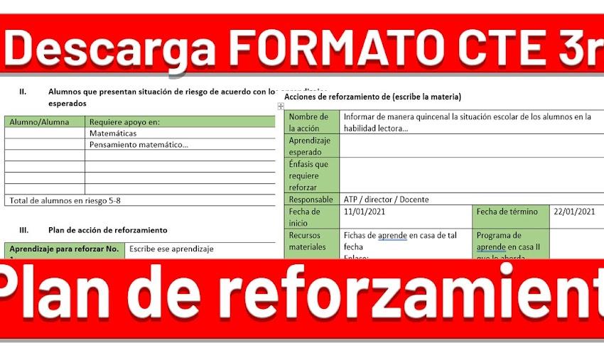 ✅ Formato para el PLAN DE REFORZAMIENTO CTE Ordinario enero 2021 --> DESCARGA