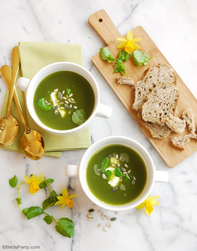 Gluten-Free Vegan Watercress Spring Soup - a quick, easy and super delicious healthy soup, perfect for dinner party or party appetizers at Easter! by BIrdsParty;com @birdsparty #souprecipe #springsoup #veganrecipe #glutenfreerecipe #healthyfood