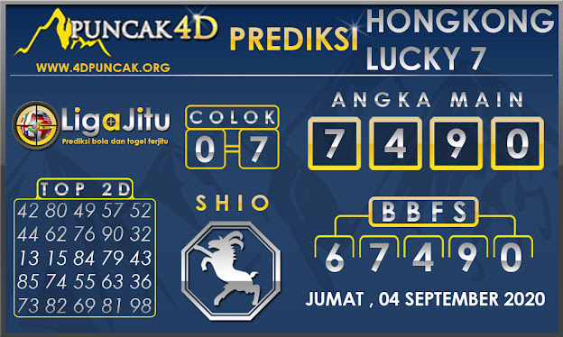 PREDIKSI TOGEL HONGKONG LUCKY7 PUNCAK4D 04 SEPTEMBER 2020