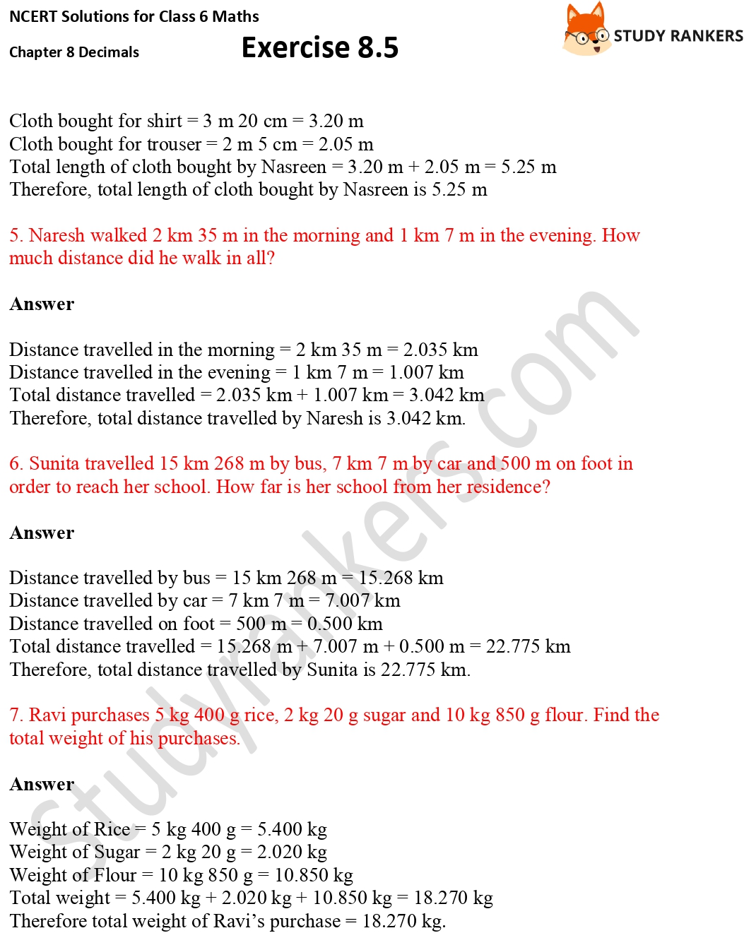 NCERT Solutions for Class 6 Maths Chapter 8 Decimals Exercise 8.5 Part 2