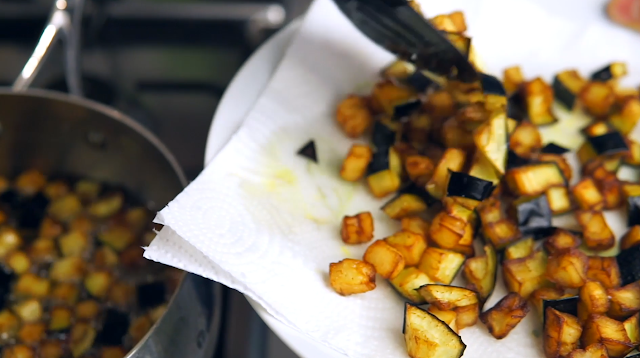frying the eggplants
