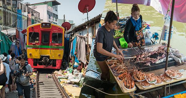 Excursion Desde Bangkok Mercado Del Tren Y Mercado Flotante De