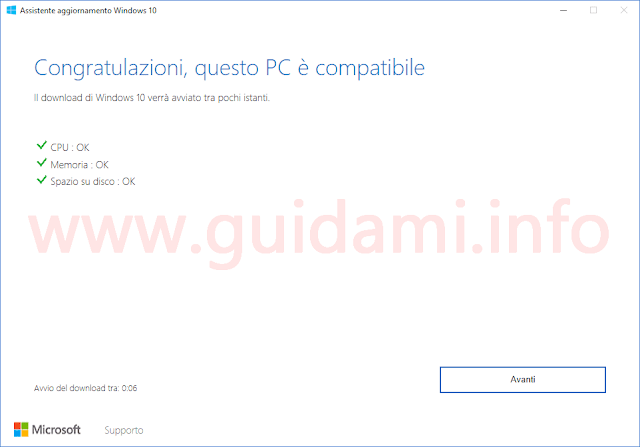 Assistente aggiornamento Windows 10 Creators Update seconda schermata