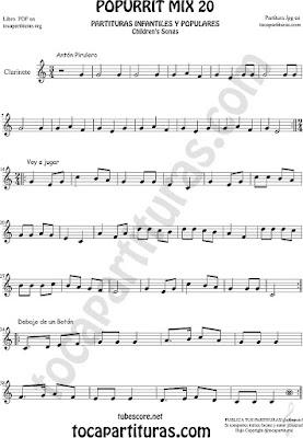 Partitura de Clarinete Mix Popurrí Mix 20 Partituras de Antón Pirulero, Voy a Jugar, Debajo de un Botón Infantil Sheet Music for Clarinet Music Score