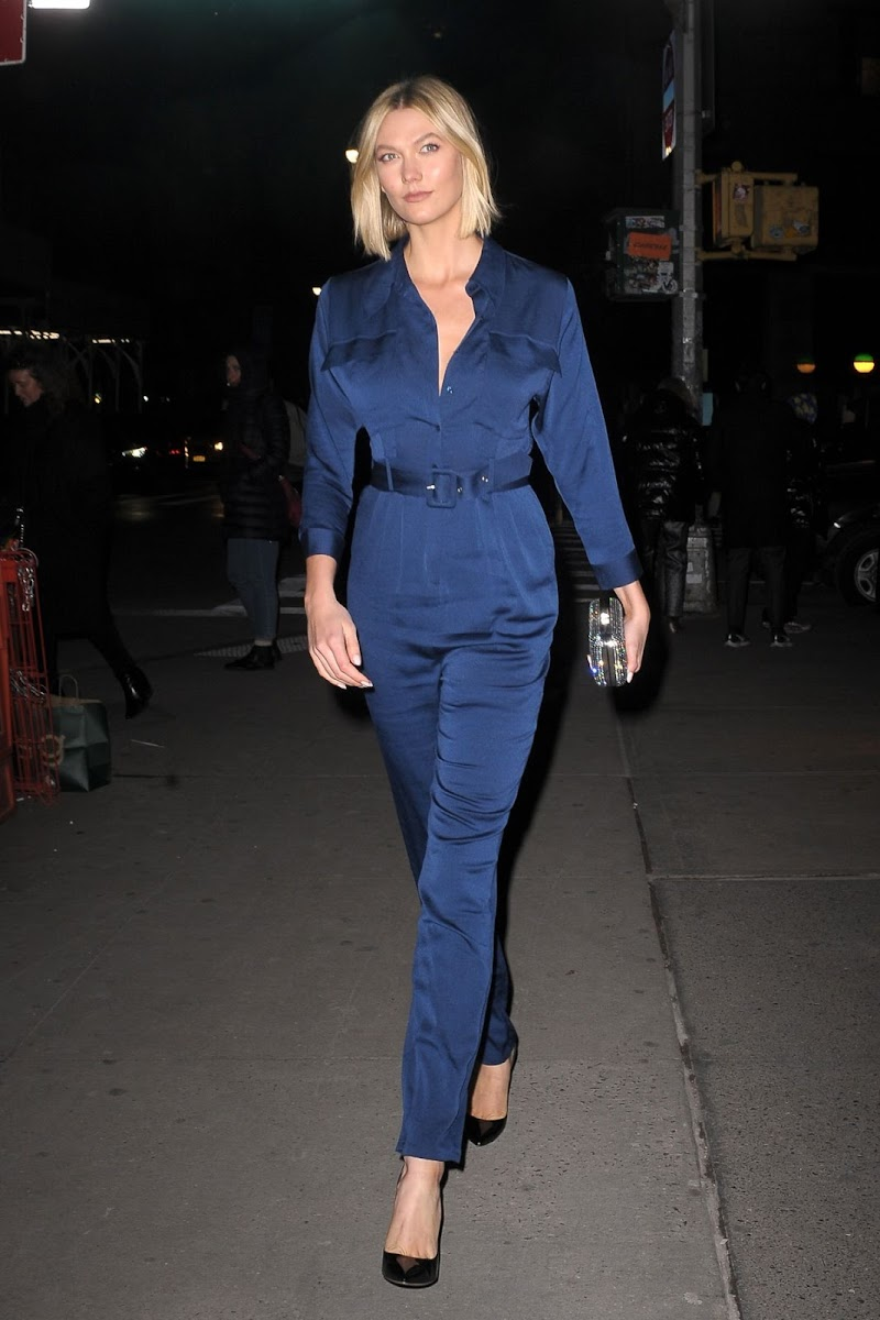 Karlie Kloss Clicked  in a Blue Jumpsuit Out in New York 12 Dec-2019