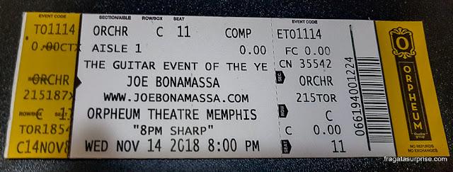 Ingresso para o show de Joe Bonamassa em Memphis, novembro de 2018
