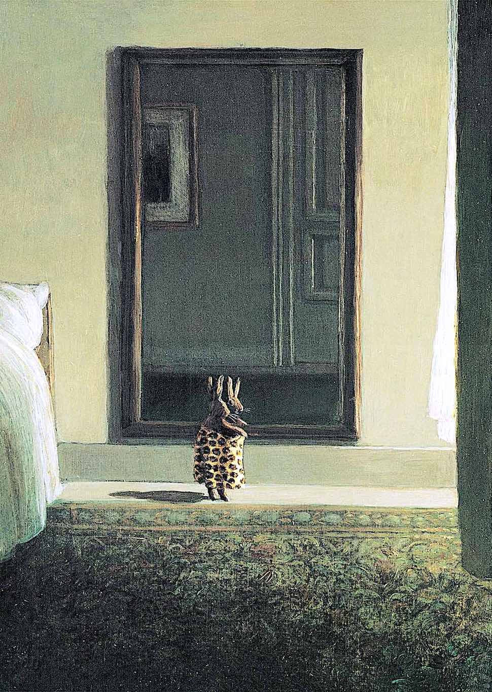 a Michael Sowa image of a small rabbit trying clothes in a bedroom mirror