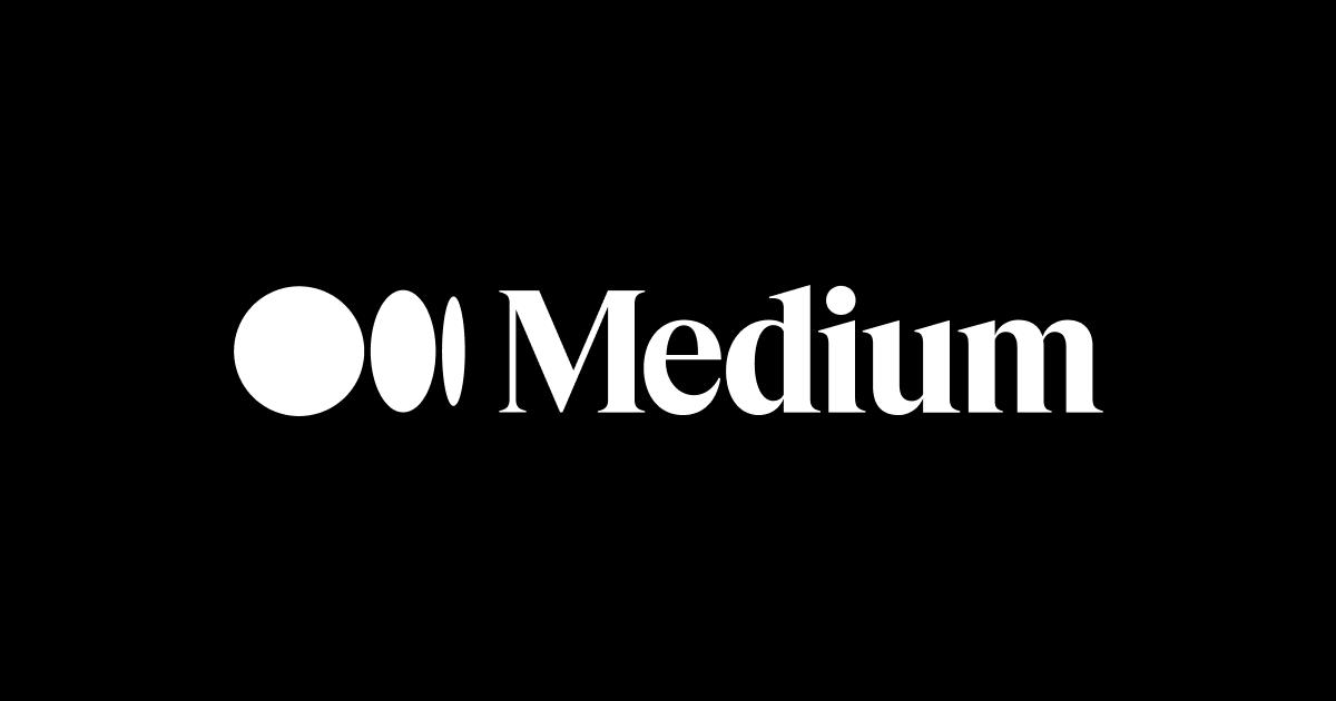 Medium logo, black background, white letters