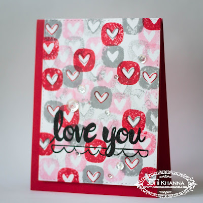 Stamped Valentine's Day Card with Jane's Doodles Love stampset