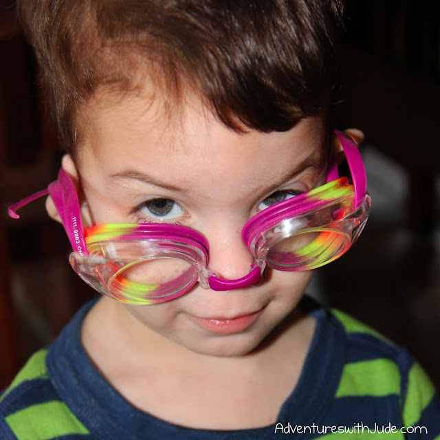wordless wednesday pool plea with goggles