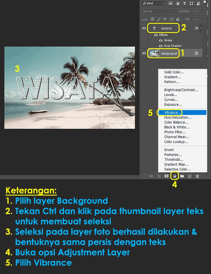 cara seleksi pada foto dengan bentuk sesuai bentuk teks